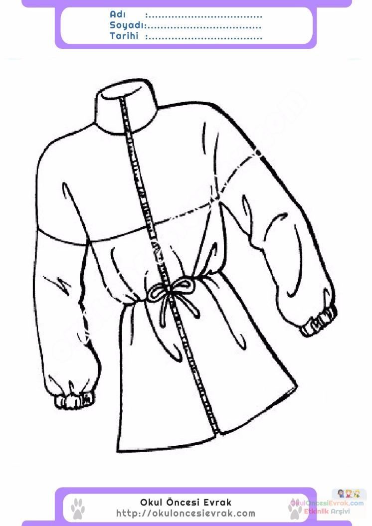 çocuklar Için Kaban Mont Kıyafet Giysi Boyama Sayfası 16 Preschool
