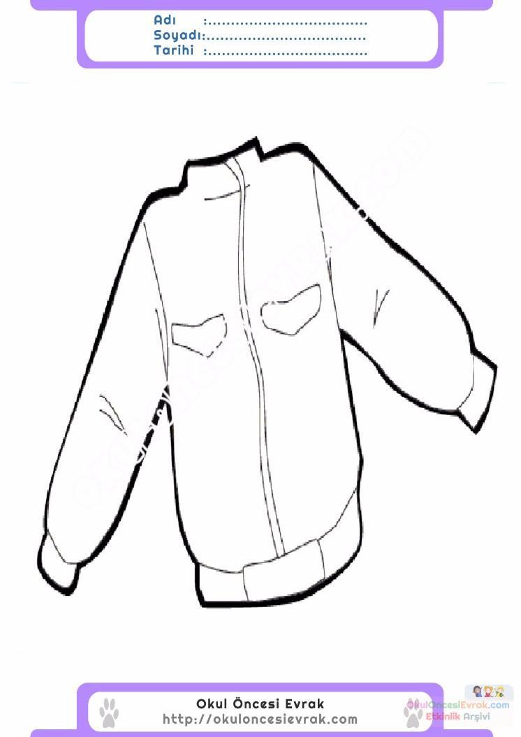 çocuklar Için Kaban Mont Kıyafet Giysi Boyama Sayfası 18 Preschool