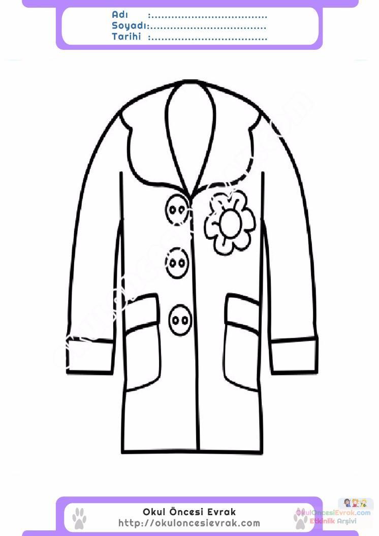 çocuklar Için Kaban Mont Kıyafet Giysi Boyama Sayfası 3 Preschool