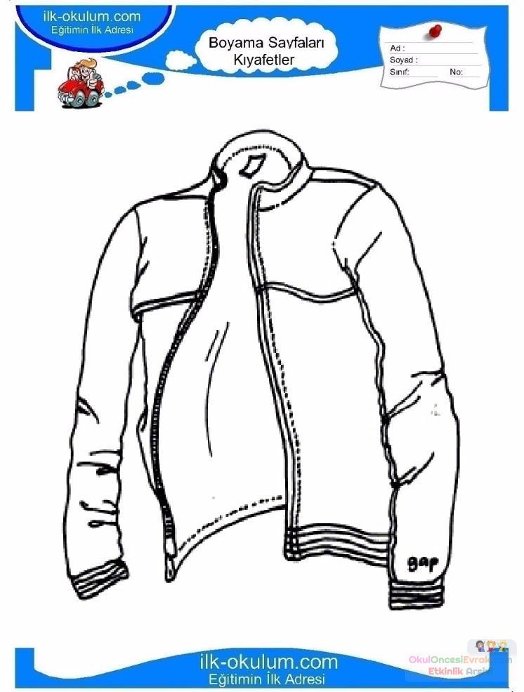 çocuklar Için Kaban Mont Kıyafet Giysi Boyama Sayfası 9 Preschool