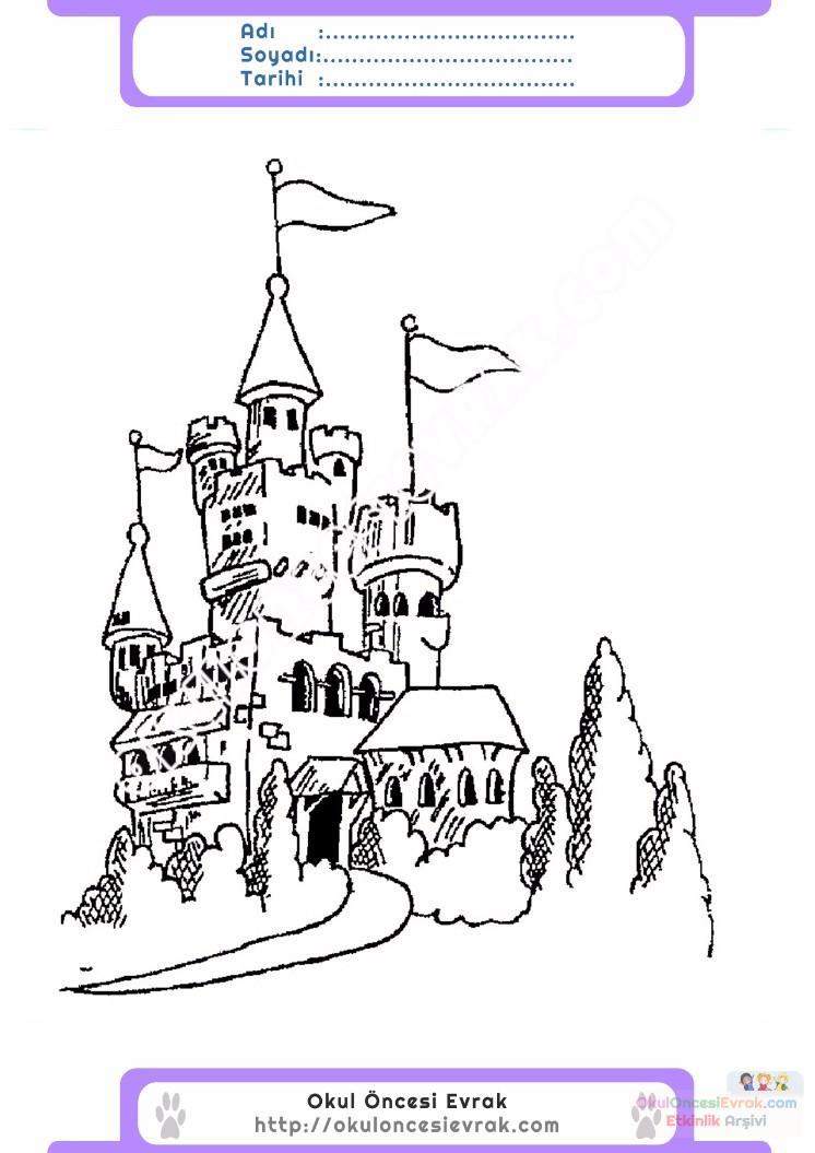 çocuklar Için Kale Yapılar Binalar Boyama Sayfası 11 Preschool