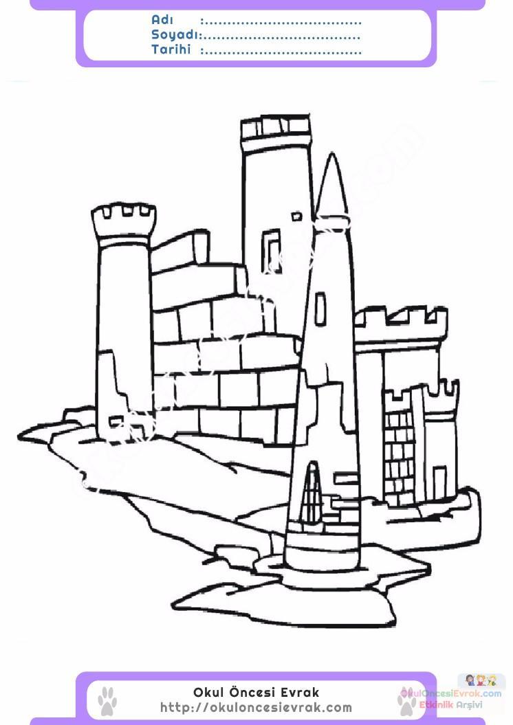 çocuklar Için Kale Yapılar Binalar Boyama Sayfası 13 Preschool