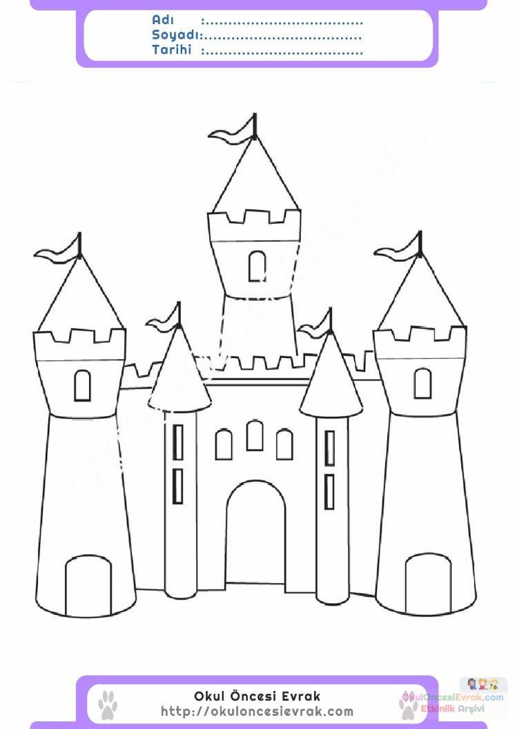 çocuklar Için Kale Yapılar Binalar Boyama Sayfası 5 Preschool Activity