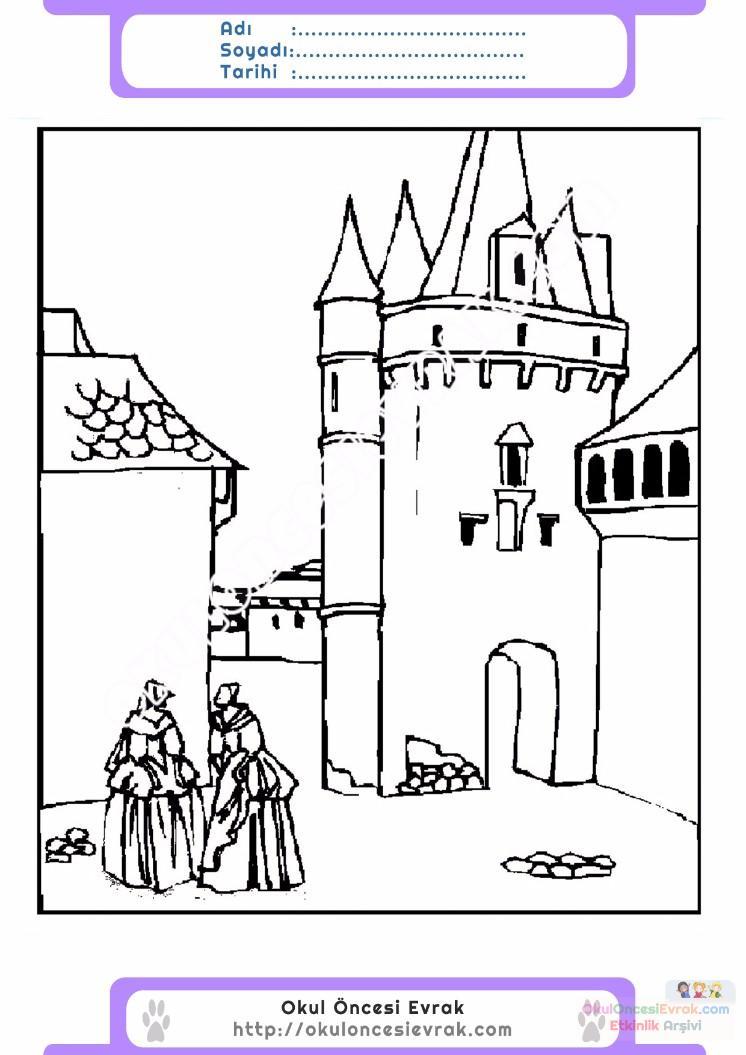 çocuklar Için Kale Yapılar Binalar Boyama Sayfası 9 1
