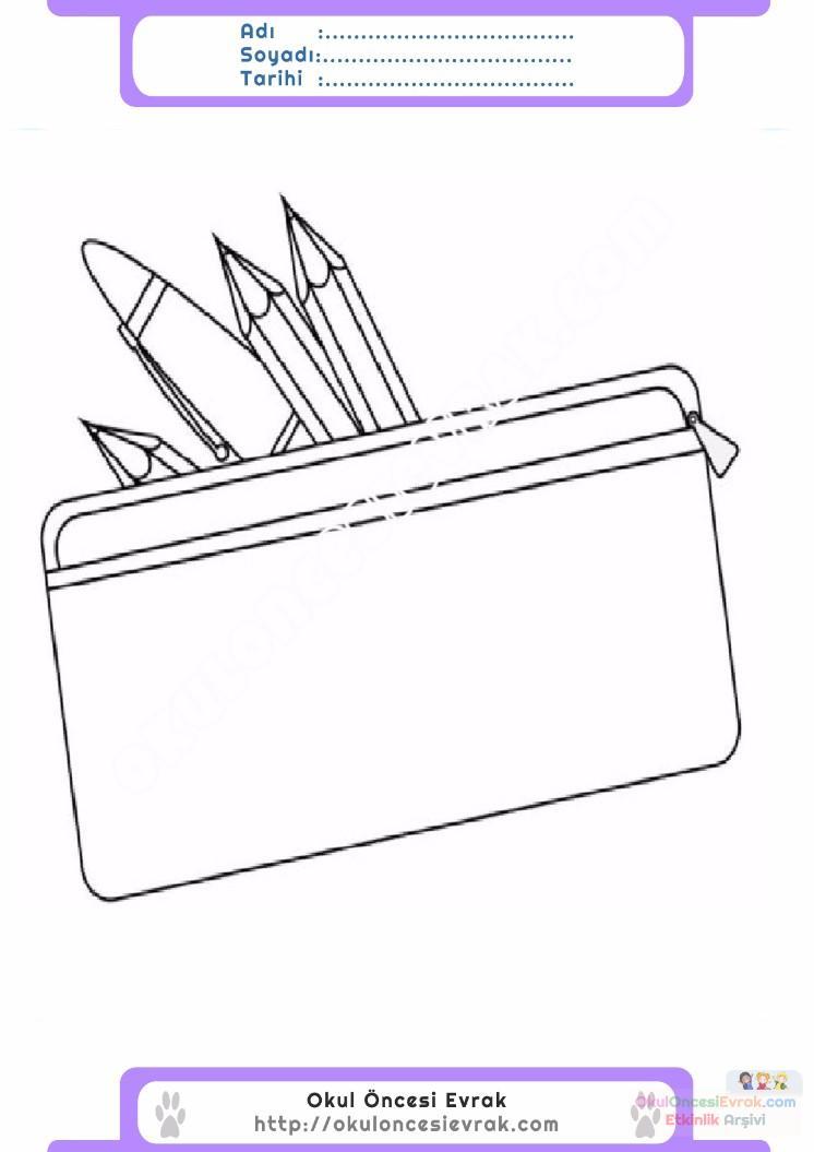 çocuklar Için Kalem Kutusu Eşyalar Boyama Sayfası 7 Preschool Activity