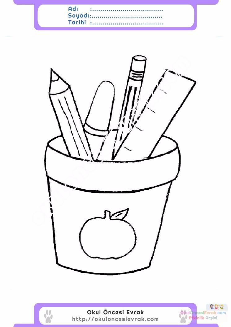 Cocuklar Icin Kalemlik Esyalar Boyama Sayfasi 4 Preschool Activity