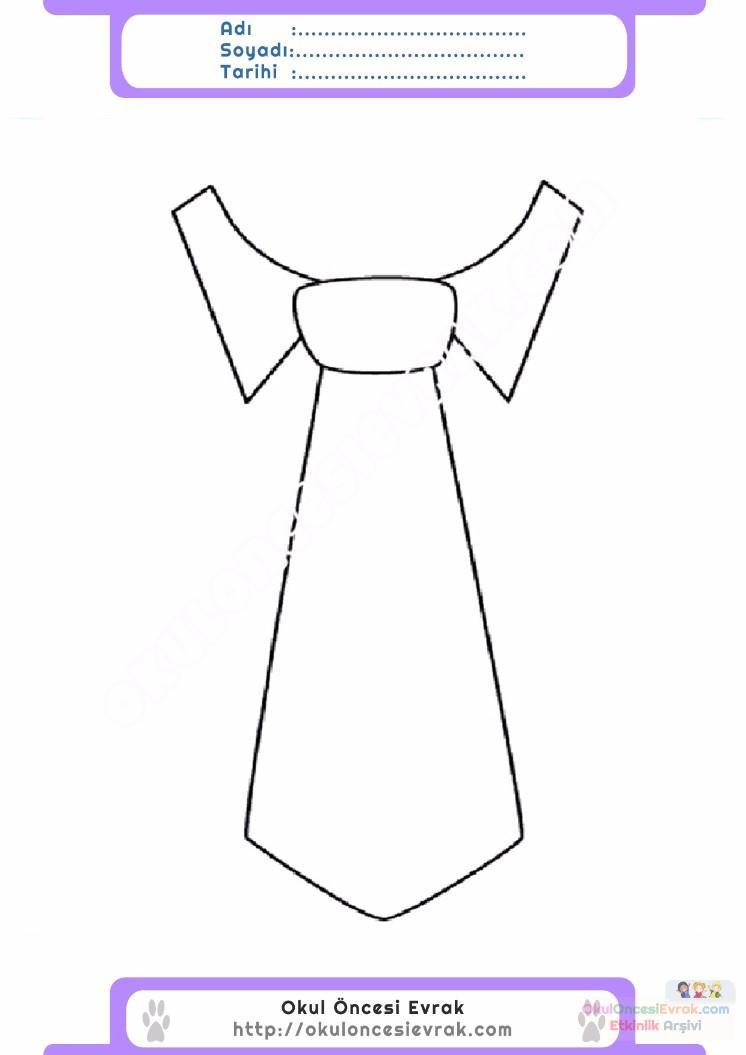 çocuklar Için Kıravat Kıyafet Giysi Boyama Sayfası 5 Preschool