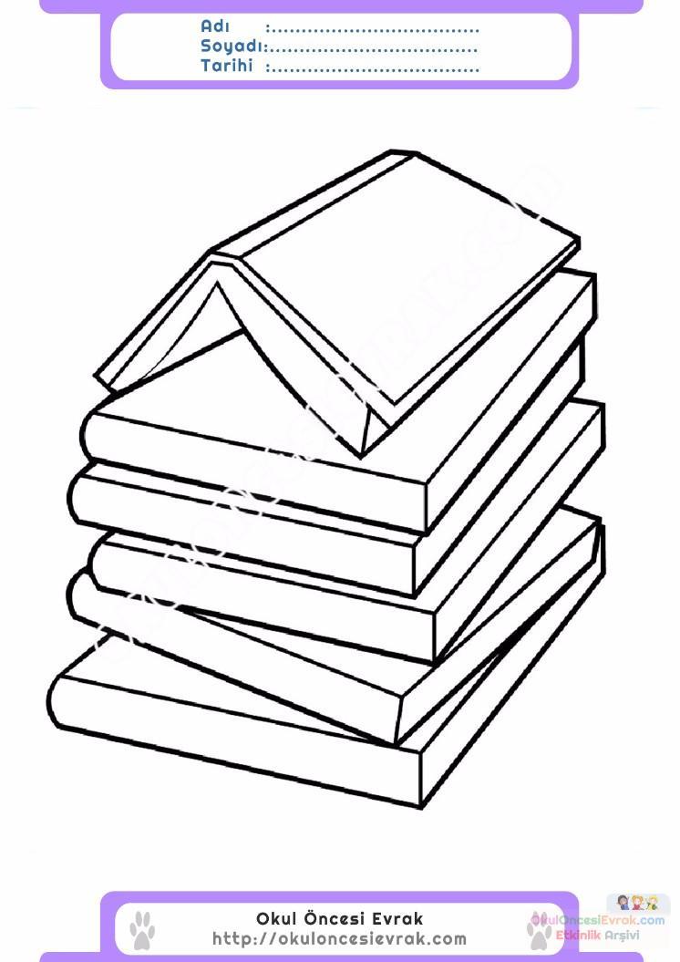 çocuklar Için Kitap Eşyalar Boyama Sayfası 10 Preschool Activity