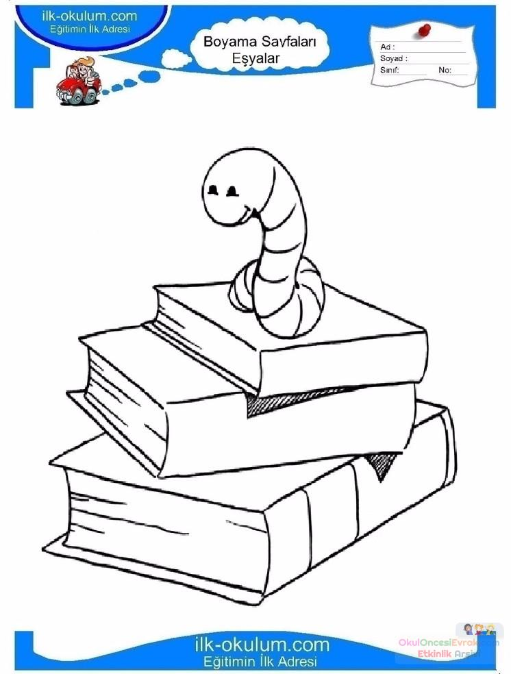 çocuklar Için Kitap Eşyalar Boyama Sayfası 13 Preschool Activity