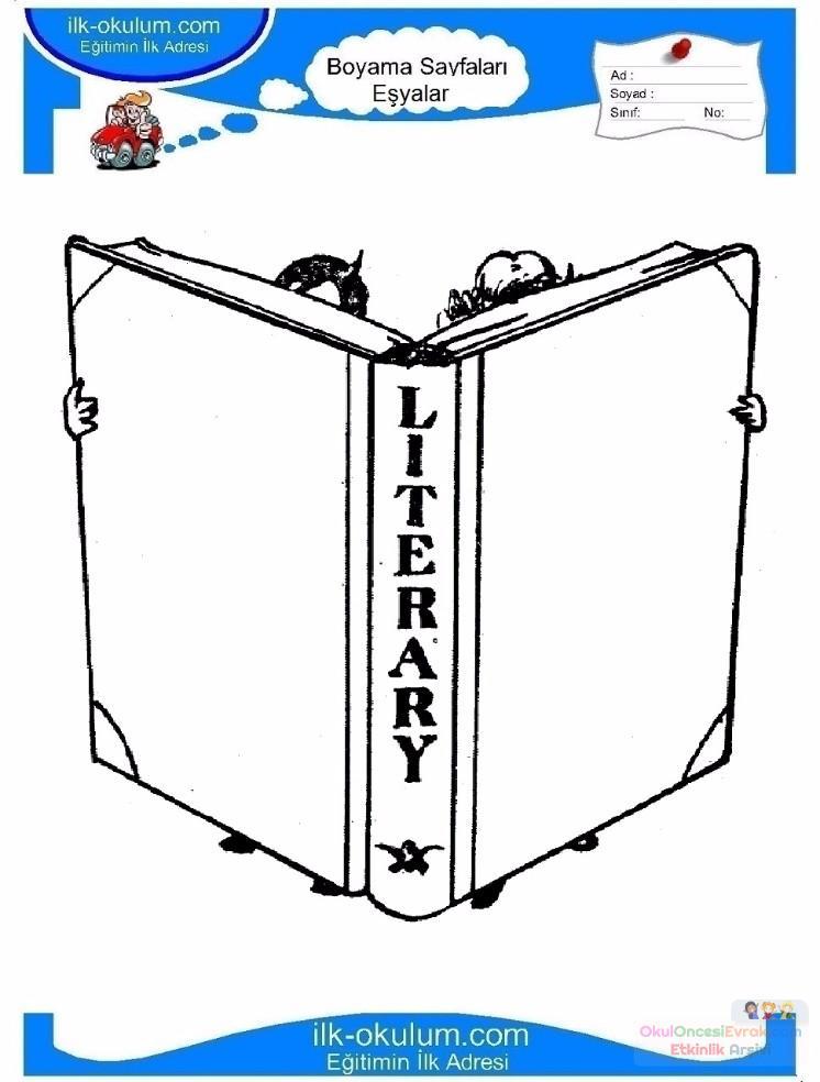 çocuklar Için Kitap Eşyalar Boyama Sayfası 14 Preschool Activity