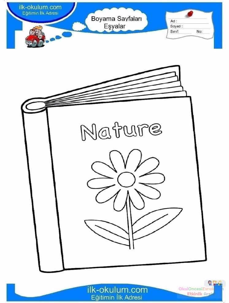 çocuklar Için Kitap Eşyalar Boyama Sayfası 16 Preschool Activity
