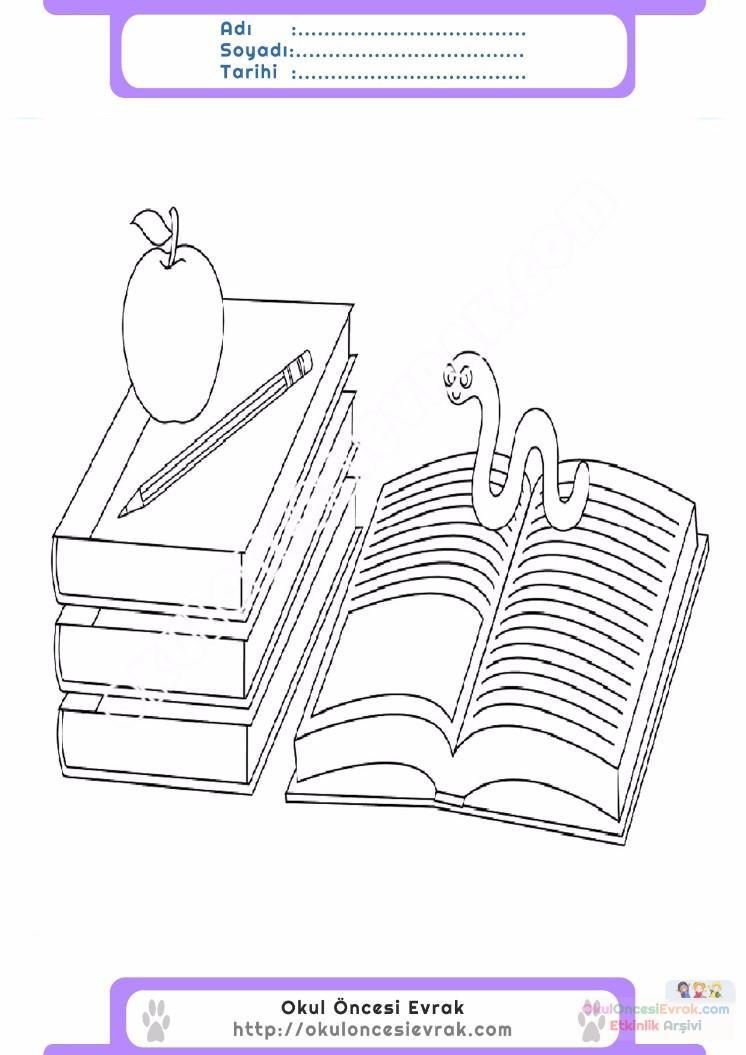 çocuklar Için Kitap Eşyalar Boyama Sayfası 19 1 Preschool Activity