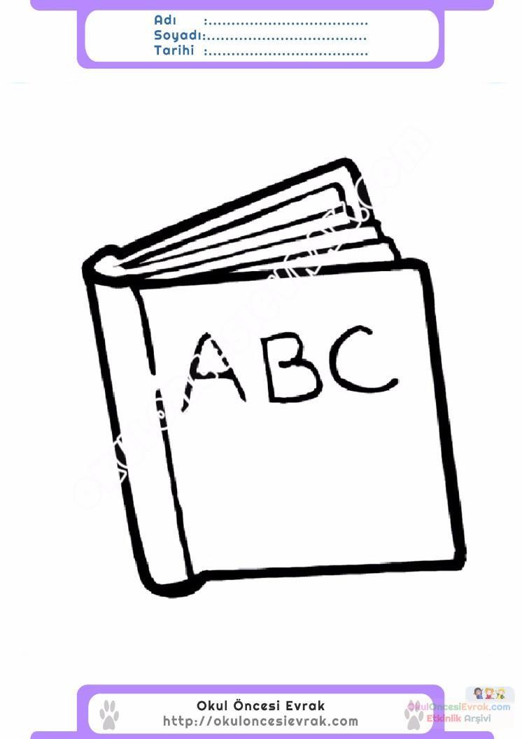çocuklar Için Kitap Eşyalar Boyama Sayfası 4 Preschool Activity