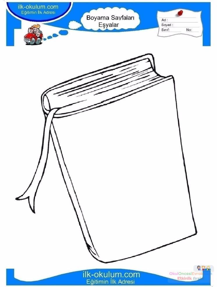 çocuklar Için Kitap Eşyalar Boyama Sayfası 6 Preschool Activity