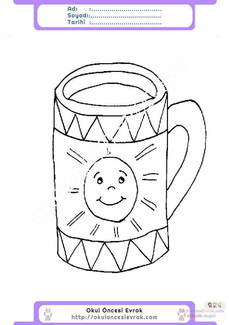 çocuklar Için Kupa Eşyalar Boyama Sayfası 4 Preschool Activity