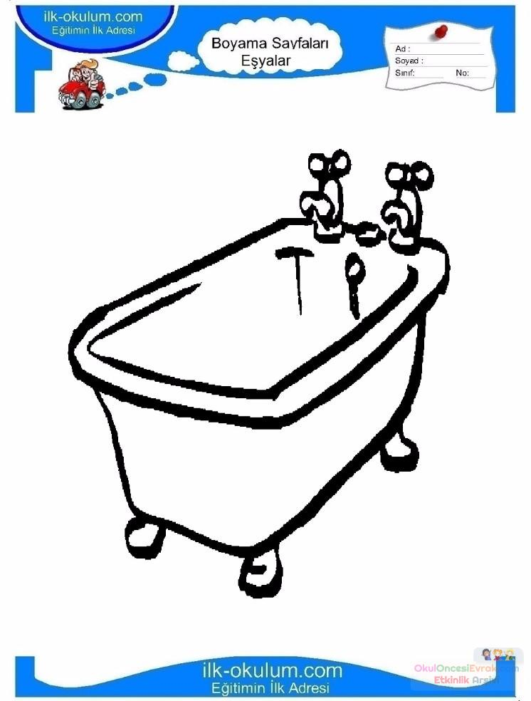 çocuklar Için Küvet Banyo Eşyalar Boyama Sayfası 1 Preschool Activity