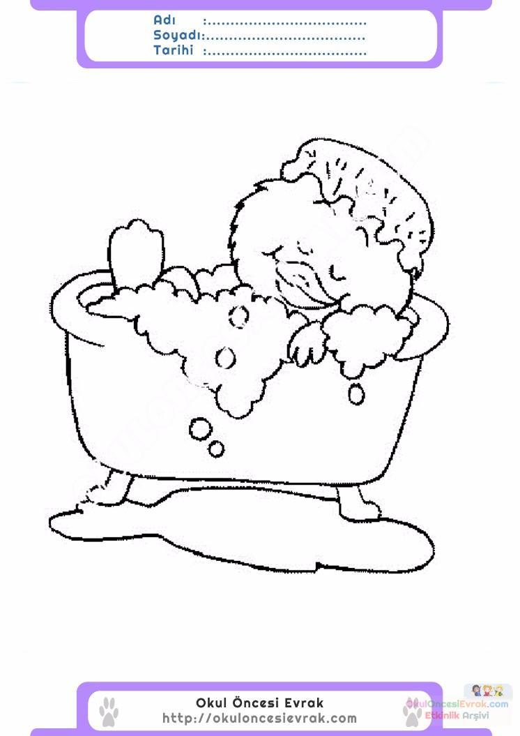 çocuklar Için Küvet Banyo Eşyalar Boyama Sayfası 14 Preschool Activity