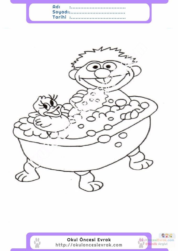 çocuklar Için Küvet Banyo Eşyalar Boyama Sayfası 16 Preschool Activity