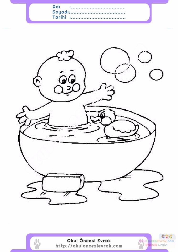 çocuklar Için Küvet Banyo Eşyalar Boyama Sayfası 5 Preschool Activity