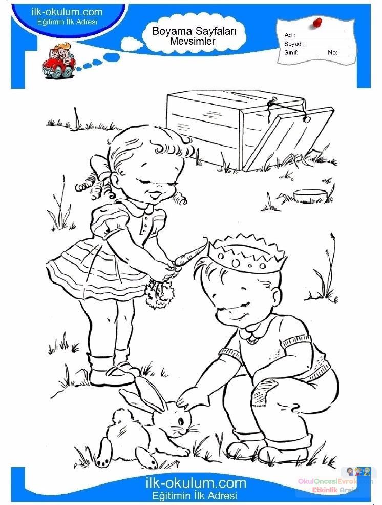 çocuklar Için Mevsimler Ilkbahar Mevsimi Boyama Sayfası 23