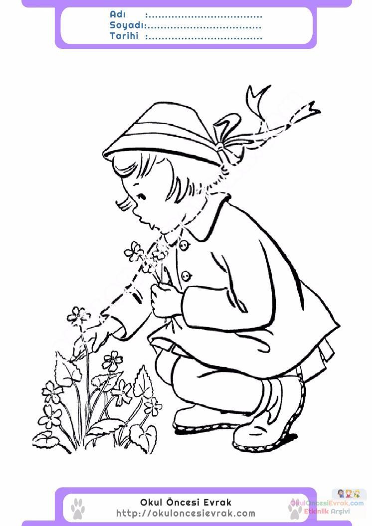 çocuklar Için Mevsimler Ilkbahar Mevsimi Boyama Sayfası 27