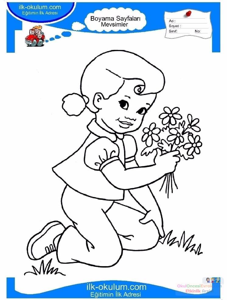 çocuklar Için Mevsimler Ilkbahar Mevsimi Boyama Sayfası 35