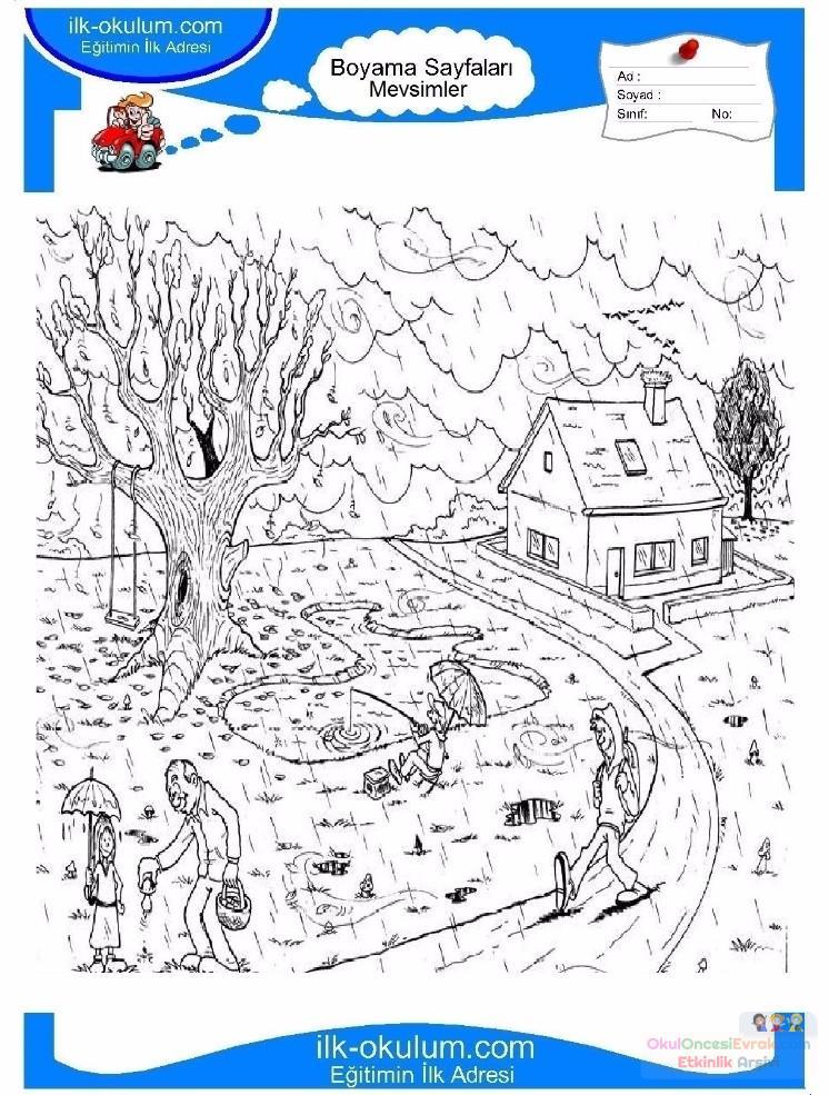 çocuklar Için Mevsimler Ilkbahar Mevsimi Boyama Sayfası 39