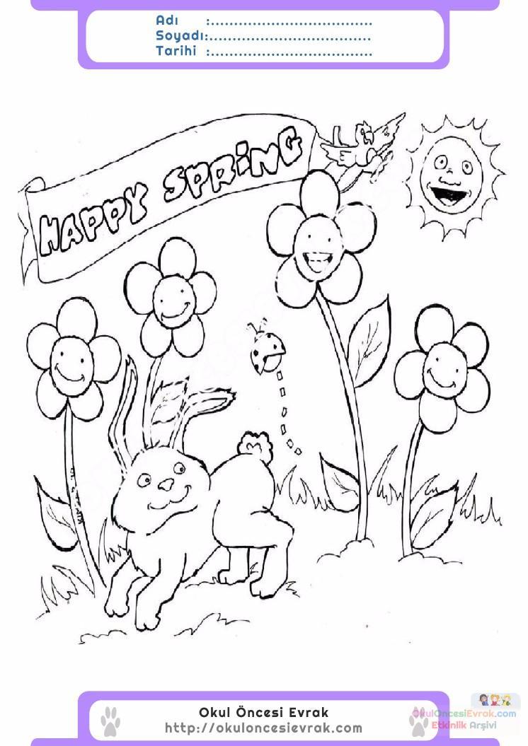 çocuklar Için Mevsimler Ilkbahar Mevsimi Boyama Sayfası 42