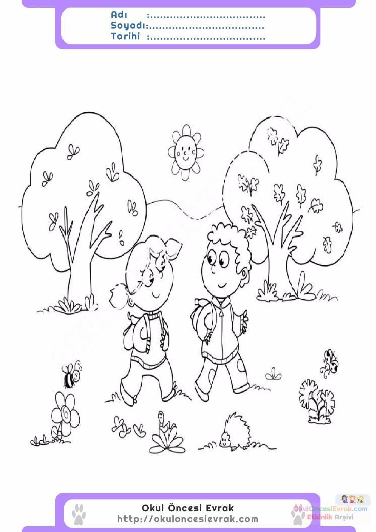 çocuklar Için Mevsimler Ilkbahar Mevsimi Boyama Sayfası 6