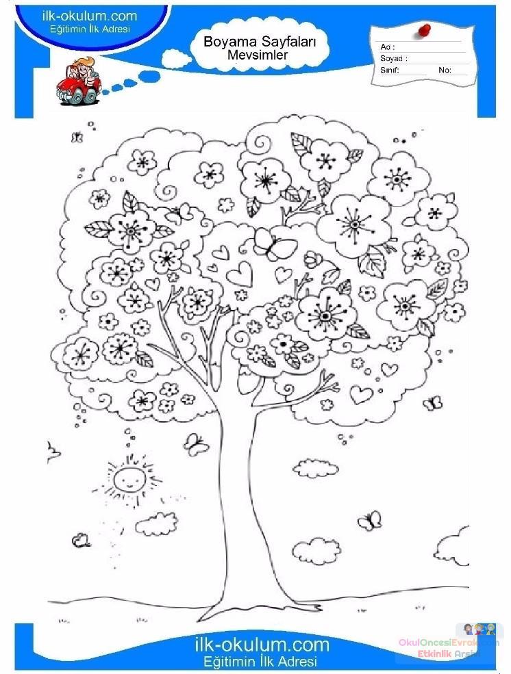 çocuklar Için Mevsimler Ilkbahar Mevsimi Boyama Sayfası 8 1