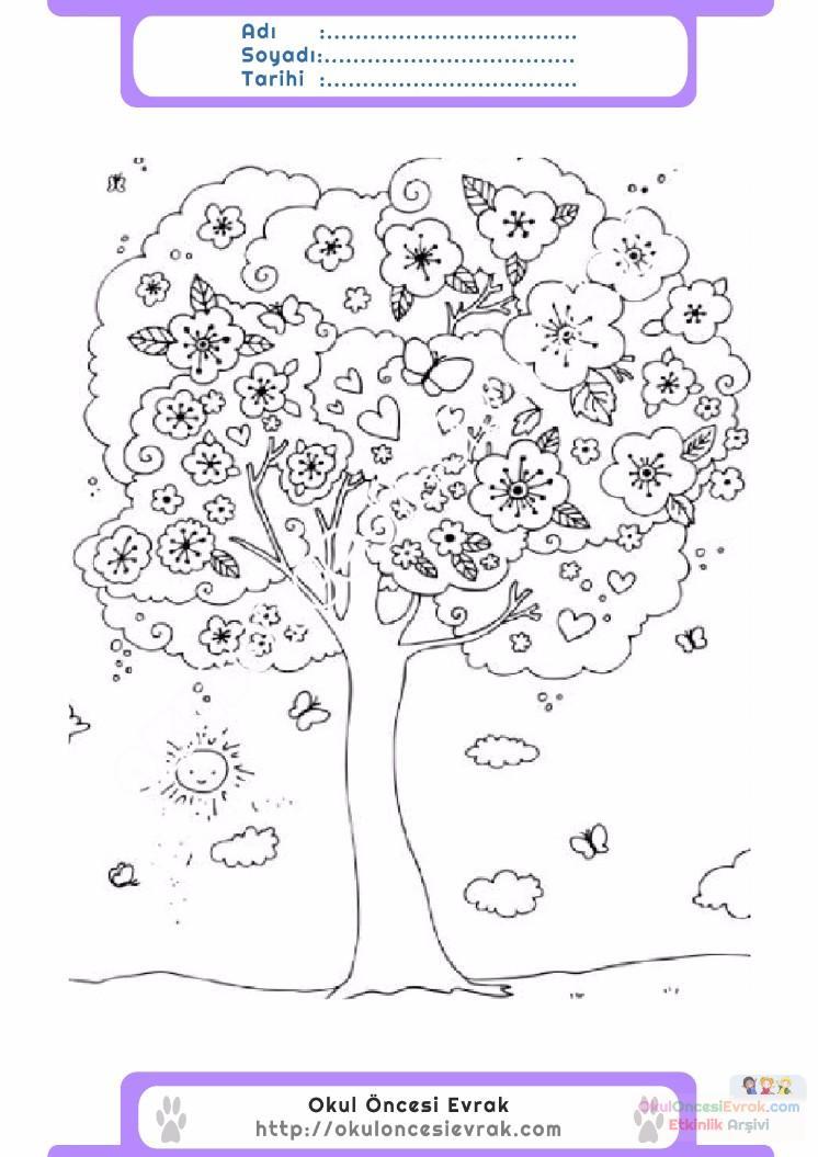 çocuklar Için Mevsimler Ilkbahar Mevsimi Boyama Sayfası 8