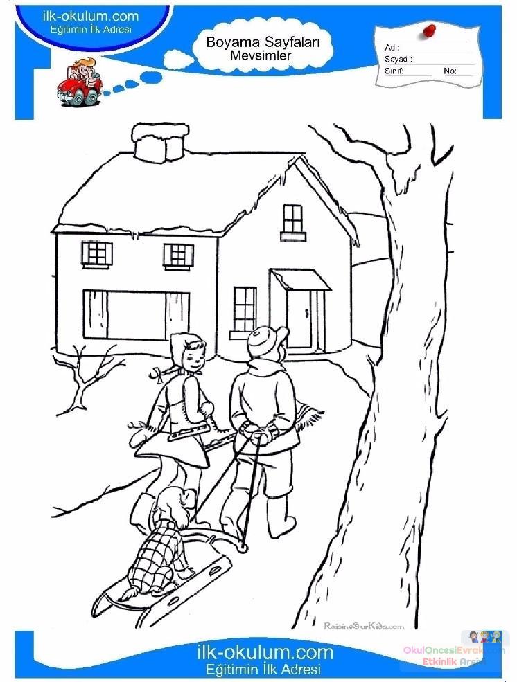 çocuklar Için Mevsimler Kış Mevsimi Boyama Sayfası 14 Preschool