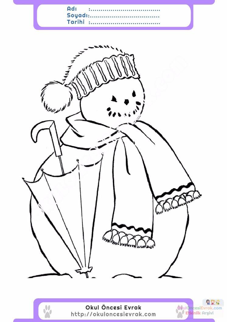 çocuklar Için Mevsimler Kış Mevsimi Boyama Sayfası 15 Preschool