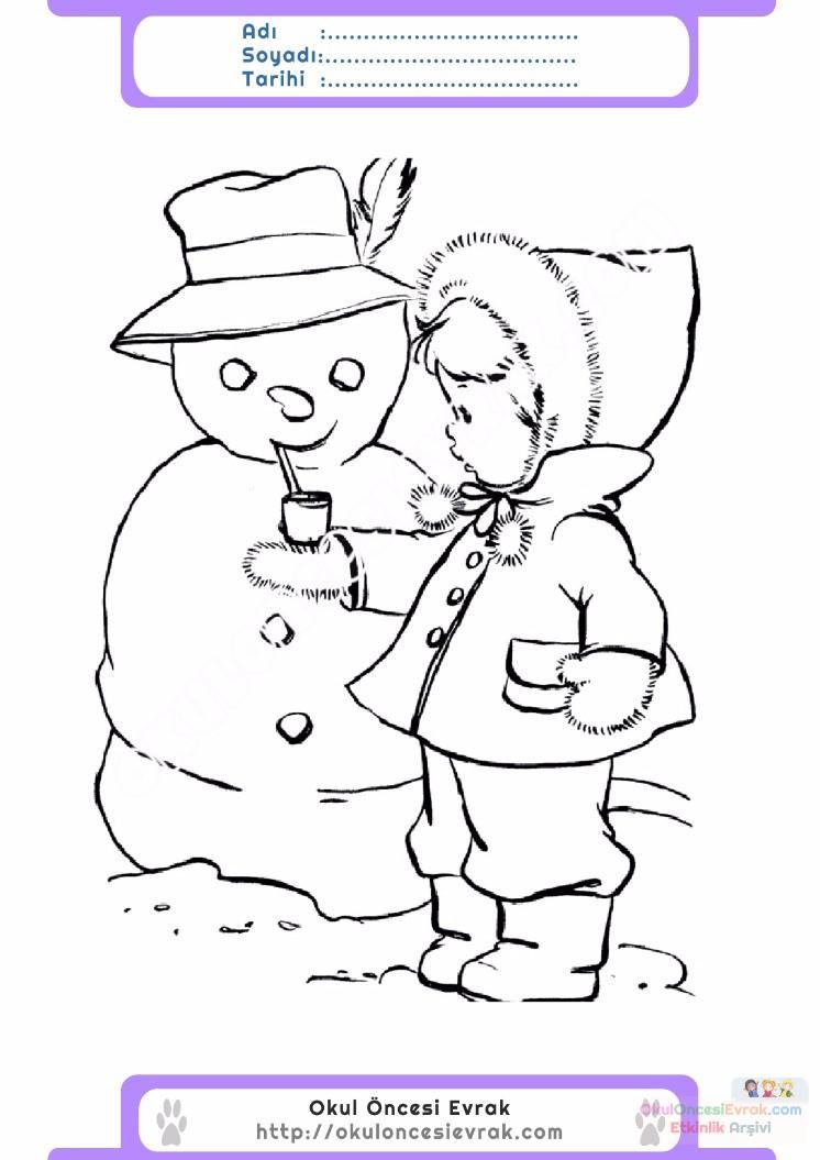 Cocuklar Icin Mevsimler Kis Mevsimi Boyama Sayfasi 19 Preschool