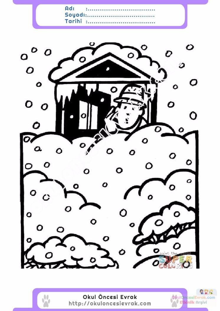çocuklar Için Mevsimler Kış Mevsimi Boyama Sayfası 25 Preschool
