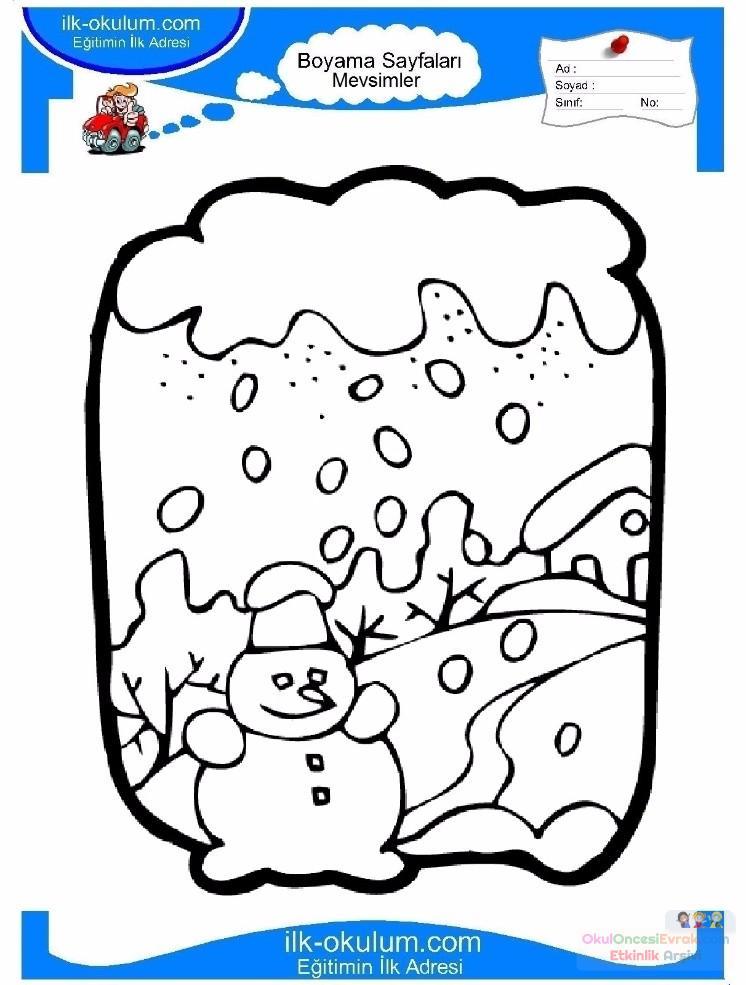 çocuklar Için Mevsimler Kış Mevsimi Boyama Sayfası 28 Preschool