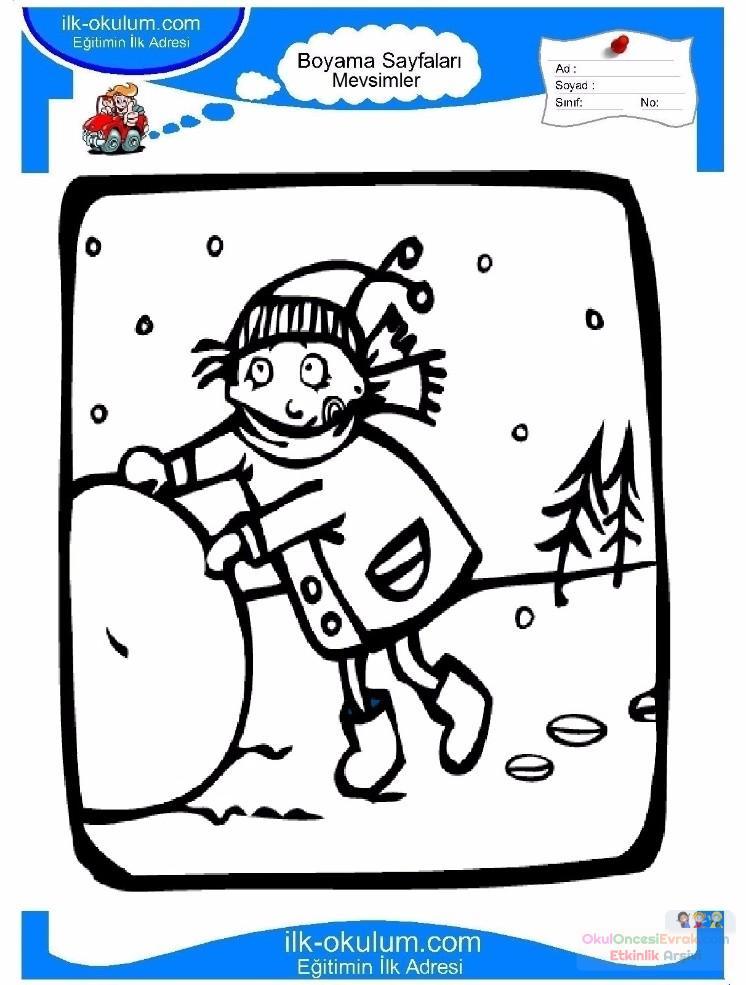 çocuklar Için Mevsimler Kış Mevsimi Boyama Sayfası 29 Preschool