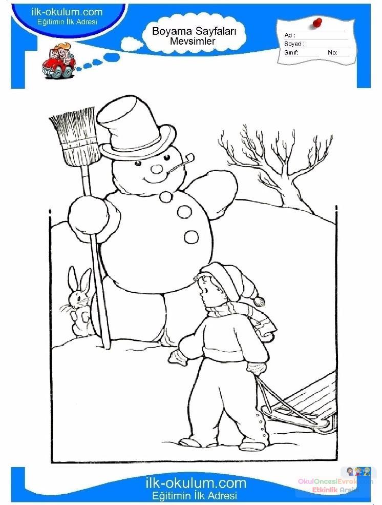 Cocuklar Icin Mevsimler Kis Mevsimi Boyama Sayfasi 34 Preschool
