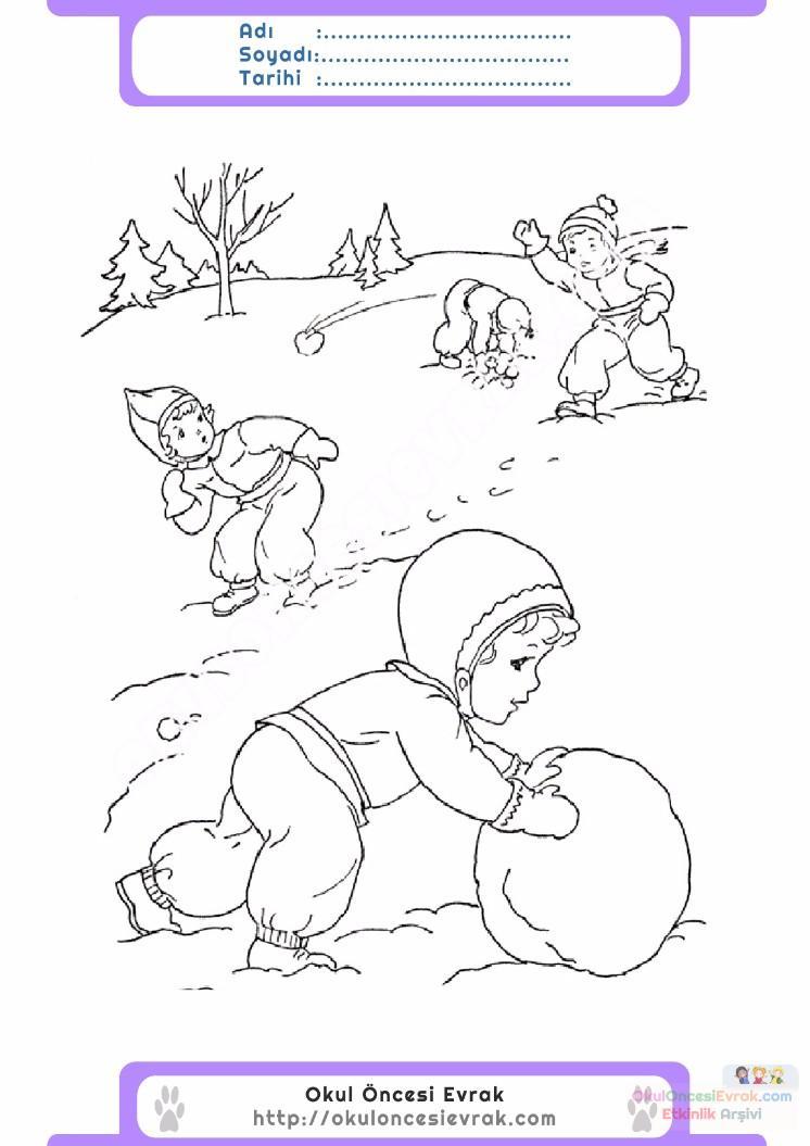 çocuklar Için Mevsimler Kış Mevsimi Boyama Sayfası 36 Preschool