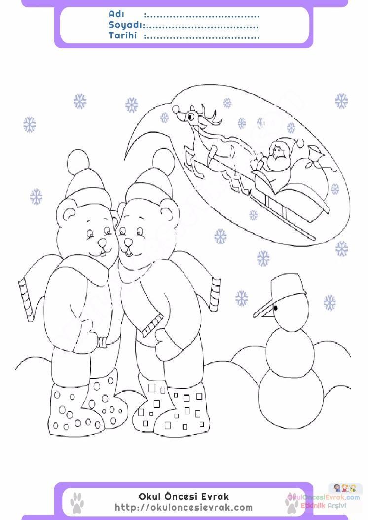 çocuklar Için Mevsimler Kış Mevsimi Boyama Sayfası 37 Preschool