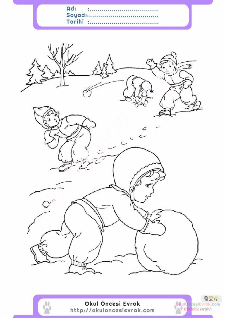 çocuklar Için Mevsimler Kış Mevsimi Boyama Sayfası 4 Preschool