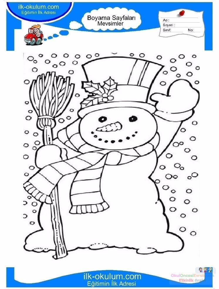 çocuklar Için Mevsimler Kış Mevsimi Boyama Sayfası 40 Preschool