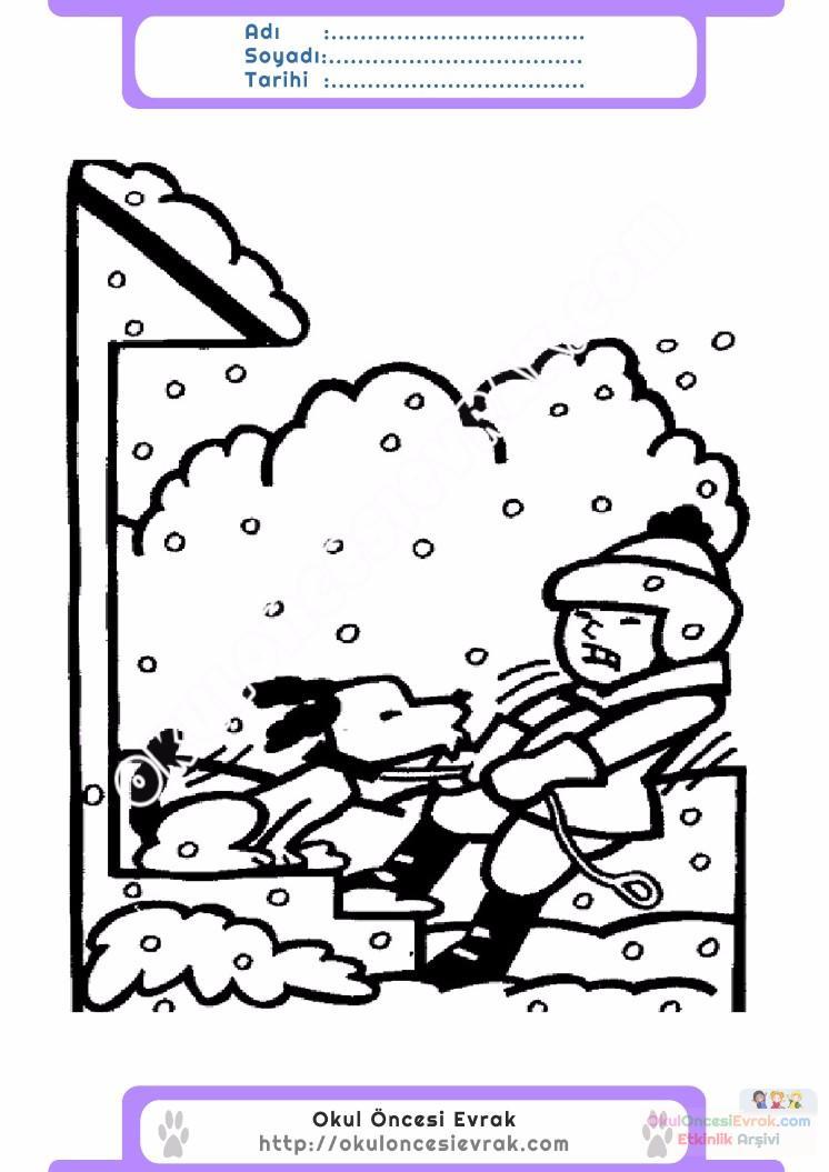 çocuklar Için Mevsimler Kış Mevsimi Boyama Sayfası 49 Preschool