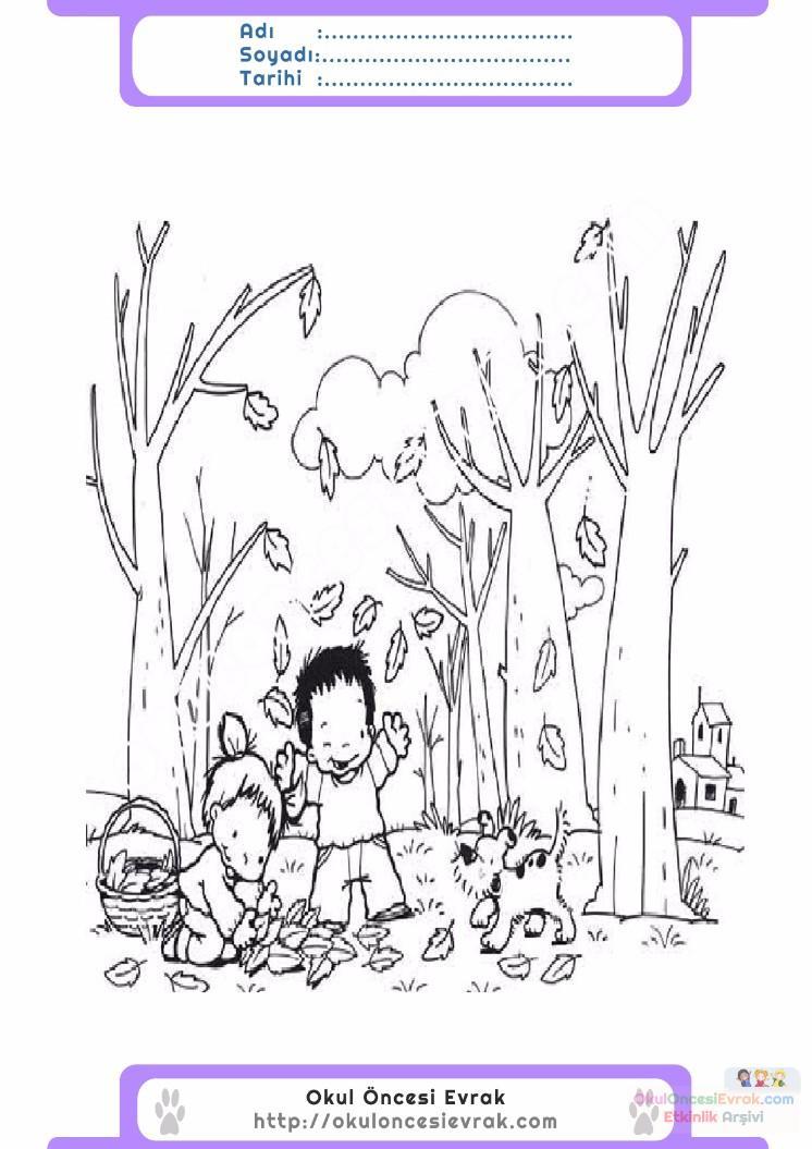 çocuklar Için Mevsimler Sonbahar Mevsimi Boyama Sayfası 15