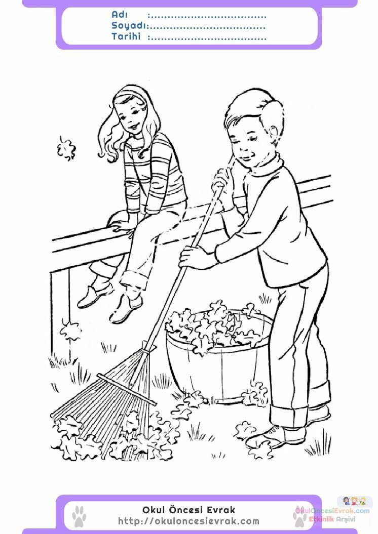 çocuklar Için Mevsimler Sonbahar Mevsimi Boyama Sayfası 16