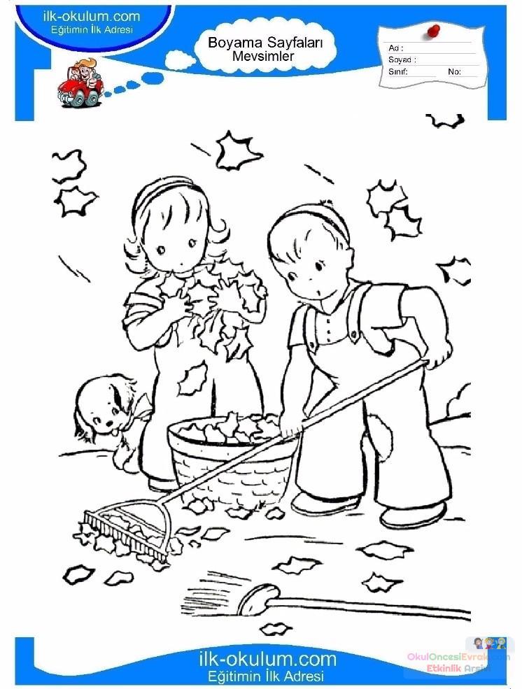 çocuklar Için Mevsimler Sonbahar Mevsimi Boyama Sayfası 17