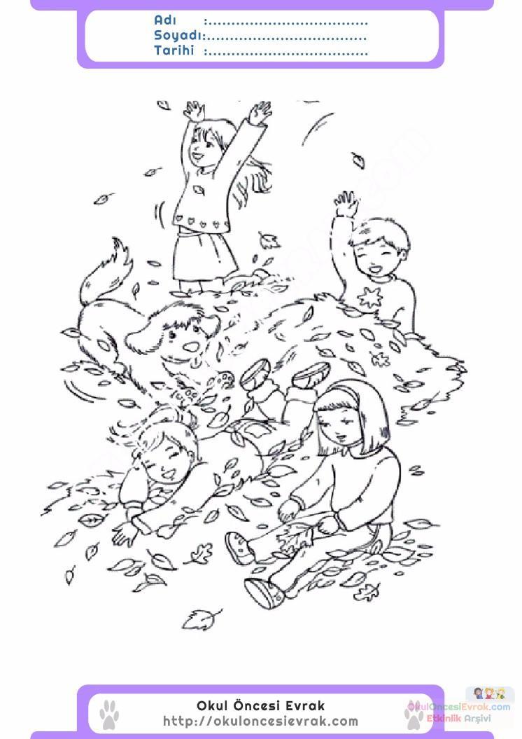 çocuklar Için Mevsimler Sonbahar Mevsimi Boyama Sayfası 3