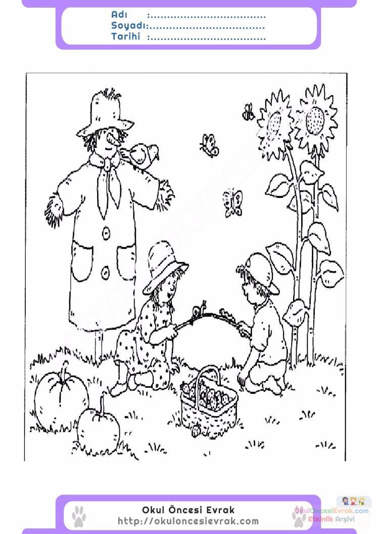 çocuklar Için Mevsimler Sonbahar Mevsimi Boyama Sayfası 38