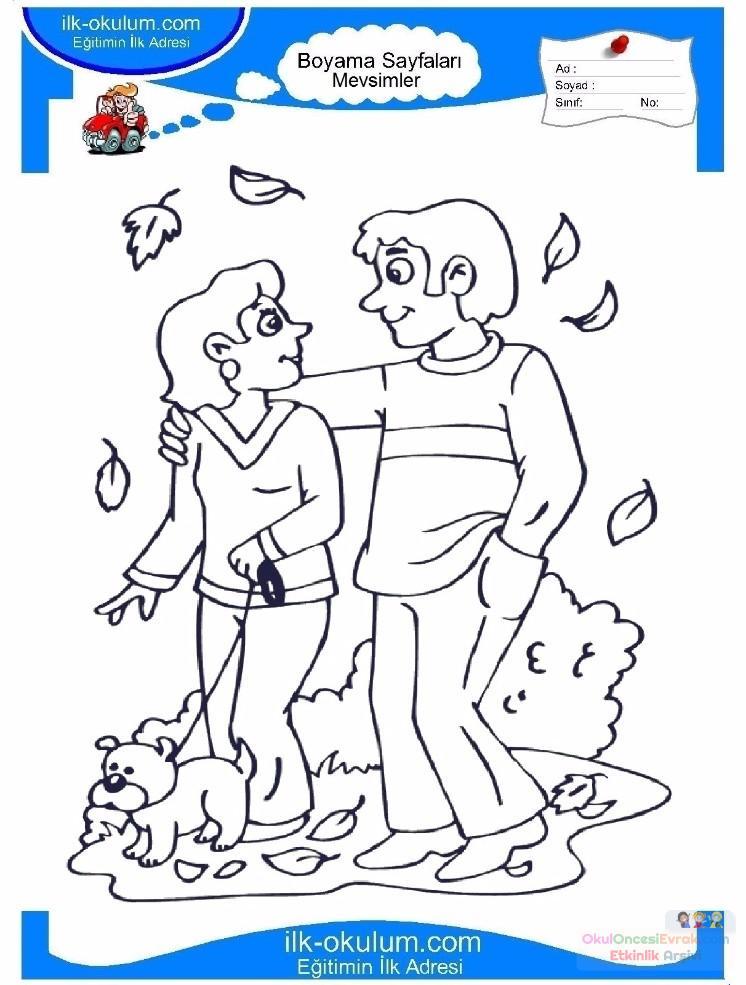 çocuklar Için Mevsimler Sonbahar Mevsimi Boyama Sayfası 4