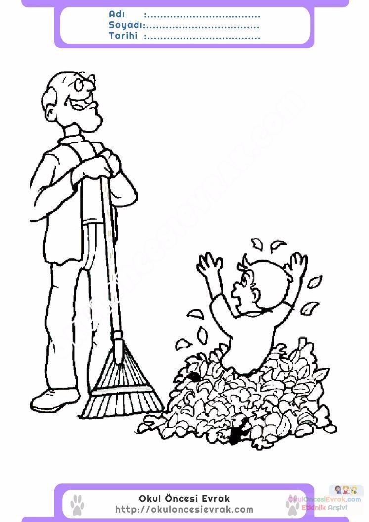 çocuklar Için Mevsimler Sonbahar Mevsimi Boyama Sayfası 7